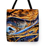 Glass Whale On Fishing Nets Tote Bag