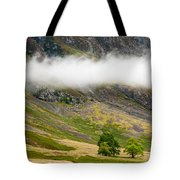 Misty Mountain Landscape Tote Bag