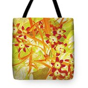 Glory Of The Snow - Lime Green And Orange Tote Bag