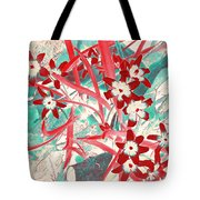 Glory Of The Snow - Red And Turquoise Tote Bag