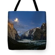 Glow - Moonrise Over Yosemite National Park. Tote Bag
