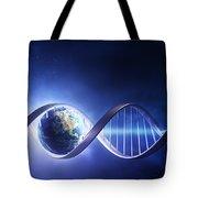 Glowing Earth Dna Strand Tote Bag