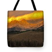 Glowing Sawtooth Mountains Tote Bag