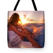 Glowing Sunrise. Greeting New Day  Tote Bag