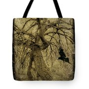 Gnarled And Twisted Tree With Crow Tote Bag