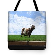 Goat On A Sod Roof In Sister Bay In Wisconsin Tote Bag
