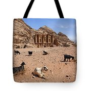 Goats In Front Of The Monastery At Petra In Jordan Tote Bag by Robert Preston