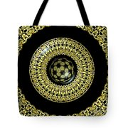 Gold And Black Stained Glass Kaleidoscope Under Glass Tote Bag