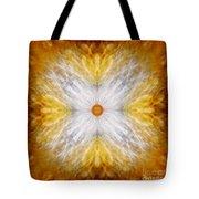 Gold And White Light Mandala Tote Bag