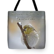 Gold Finch On A Snowy Twig With Verse Tote Bag