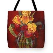 Gold N Red Iris Tote Bag