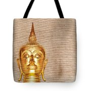 Gold Painted Buddha Statue Tote Bag