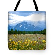Golden Asters And Tetons From The Road In Grand Teton National Park-wyoming Tote Bag
