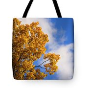 Golden Autumn Leaves And Blue Sky Tote Bag