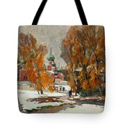 Golden Autumn Under Snow Tote Bag