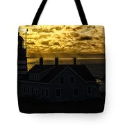 Golden Backlit West Quoddy Head Lighthouse Tote Bag