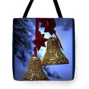 Golden Bells Blue Greeting Card Tote Bag