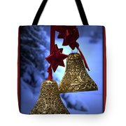 Golden Bells Red Greeting Card Tote Bag