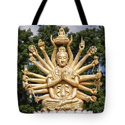 Golden Buddha With Many Arms Tote Bag