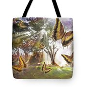Golden Butterfly Rays Tote Bag by Alixandra Mullins
