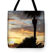 Golden Clouds Over Tampa Bay Tote Bag