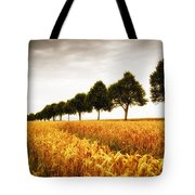 Golden Cornfield And Row Of Trees Tote Bag