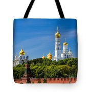 Golden Domes Of Moscow Kremlin - Featured 3 Tote Bag
