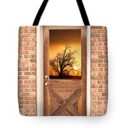 Golden Doorway Window View Tote Bag