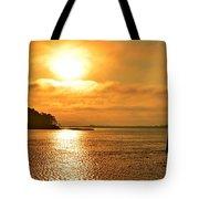 Golden Foggy Sunrise Colors On Santa Rosa Sound At Hurlburt Harbor Tote Bag