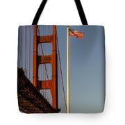 Golden Gate And American Flag Tote Bag