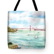 Golden Gate Bridge View From Point Bonita Tote Bag by Irina Sztukowski
