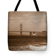 Golden Gate Bridge With Surf Sepia Tote Bag