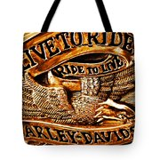 Golden Harley Davidson Logo Tote Bag