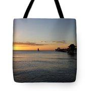 Golden Hour At Naples Pier Tote Bag