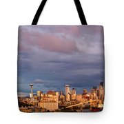 Golden Hour Reflected On Downtown Seattle And Space Needle - Seattle Washignton State Tote Bag