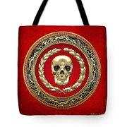Golden Human Skull On Red   Tote Bag