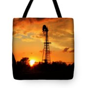 Golden Kansas Sunset With Windmill Tote Bag