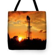 Golden Kansas Sunset With Windmill Tote Bag by Robert D  Brozek