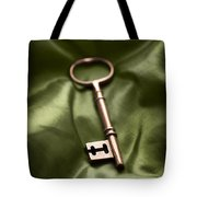 Golden Key On Green Silk  Tote Bag
