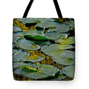 Golden Lilly Pads Tote Bag