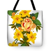 Golden Lily Flowers With Golden Rose Tote Bag
