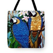 Golden Macaw Hand Embroidery Tote Bag
