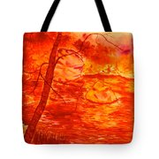 Golden Mountain Lake Morning  Tote Bag