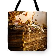 Golden Pages Falling Flowers Tote Bag