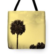 Golden Palm Silhouette Tote Bag