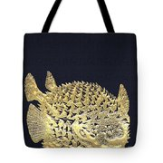 Golden Puffer Fish On Charcoal Black Tote Bag