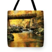 Golden Reflection Autumn Bridge Tote Bag