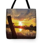 Golden Reflection With A Fence Tote Bag by Robert D  Brozek
