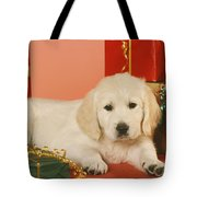Golden Retriever Amongst Presents Tote Bag