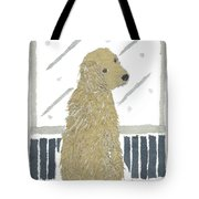Golden Retriever Art Hand-torn Newspaper Collage Art Tote Bag